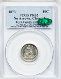 Proof Seated Dimes, 1873 10C No Arrows, Closed 3 PR62 PCGS. CAC. PCGS Population(28/126). NGC Census: (10/116). Mintage: 1,100. Numismedia Wsl...
