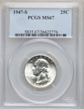 Washington Quarters: , 1947-S 25C MS67 PCGS. PCGS Population (151/3). NGC Census: (654/2).Mintage: 5,532,000. Numismedia Wsl. Price for problem f...