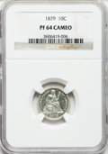 Proof Seated Dimes: , 1879 10C PR64 Cameo NGC. NGC Census: (19/30). PCGS Population(26/20). ...