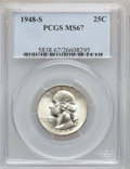 Washington Quarters: , 1948-S 25C MS67 PCGS. PCGS Population (48/1). NGC Census: (281/1).Mintage: 15,960,000. Numismedia Wsl. Price for problem f...