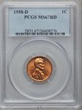 Lincoln Cents: , 1958-D 1C MS67 Red PCGS. PCGS Population (73/0). NGC Census:(218/0). Mintage: 800,953,280. Numismedia Wsl. Price for probl...