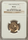 Buffalo Nickels: , 1938-D 5C MS66 NGC. NGC Census: (19487/1939). PCGS Population(27962/1590). Mintage: 7,020,000. Numismedia Wsl. Price for p...