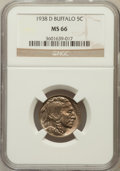 Buffalo Nickels: , 1938-D 5C MS66 NGC. NGC Census: (19487/1939). PCGS Population(27964/1590). Mintage: 7,020,000. Numismedia Wsl. Price for p...