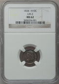 Bust Half Dimes: , 1834 H10C MS62 NGC. LM-2. NGC Census: (69/290). PCGS Population(53/217). Mintage: 1,480,000. Numismedia Wsl. Price for pr...