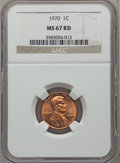 Lincoln Cents: , 1970 1C MS67 Red NGC. NGC Census: (0/0). PCGS Population (36/0).Numismedia Wsl. Price for problem free NGC/PCGS coin in M...