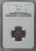 Bust Dimes: , 1820 10C Large 0 XF45 NGC. NGC Census: (13/191). PCGS Population(4/114). Mintage: 942,587. Numismedia Wsl. Price for probl...