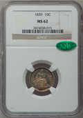 Seated Dimes: , 1839 10C No Drapery MS62 NGC. CAC. NGC Census: (26/120). PCGSPopulation (16/81). Mintage: 1,053,115. Numismedia Wsl. Price...