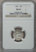 Seated Dimes: , 1861 10C MS63 NGC. NGC Census: (17/61). PCGS Population (39/77).Mintage: 1,884,000. Numismedia Wsl. Price for problem free...