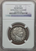 Barber Half Dollars: , 1914 50C -- Improperly Cleaned -- NGC Details. AU. NGC Census:(3/105). PCGS Population (6/155). Mintage: 124,300. Numismed...