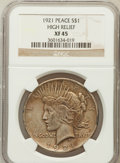 Peace Dollars, 1921 $1 XF45 NGC. Ex: High Relief. NGC Census: (248/11289). PCGSPopulation (351/13154). Mintage: 1,006,473. Numismedia Wsl...