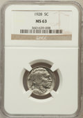 Buffalo Nickels: , 1928 5C MS63 NGC. NGC Census: (89/631). PCGS Population (190/1323).Mintage: 23,411,000. Numismedia Wsl. Price for problem ...