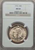 Walking Liberty Half Dollars: , 1916 50C MS64 NGC. NGC Census: (322/213). PCGS Population(401/288). Mintage: 608,000. Numismedia Wsl. Price for problemfr...