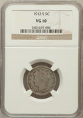 Liberty Nickels: , 1912-S 5C VG10 NGC. NGC Census: (113/770). PCGS Population(240/1322). Mintage: 238,000. Numismedia Wsl. Price for problem ...