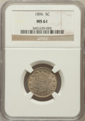 Liberty Nickels: , 1896 5C MS61 NGC. NGC Census: (9/255). PCGS Population (3/321).Mintage: 8,842,920. Numismedia Wsl. Price for problem free ...