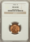 Lincoln Cents: , 1933 1C MS64 Red NGC. NGC Census: (65/389). PCGS Population(224/783). Mintage: 14,360,000. Numismedia Wsl. Price for probl...