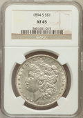 Morgan Dollars: , 1894-S $1 XF45 NGC. NGC Census: (81/2287). PCGS Population(101/3717). Mintage: 1,260,000. Numismedia Wsl. Price for proble...