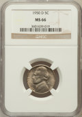 Jefferson Nickels: , 1950-D 5C MS66 NGC. NGC Census: (1308/211). PCGS Population(978/11). Mintage: 2,630,030. Numismedia Wsl. Price for problem...
