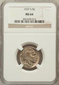Buffalo Nickels: , 1937-S 5C MS64 NGC. NGC Census: (369/2660). PCGS Population(1199/5349). Mintage: 5,635,000. Numismedia Wsl. Price for prob...