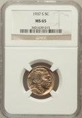 Buffalo Nickels: , 1937-S 5C MS65 NGC. NGC Census: (1684/976). PCGS Population(3723/1626). Mintage: 5,635,000. Numismedia Wsl. Price for prob...