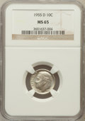 Roosevelt Dimes: , 1955-D 10C MS65 NGC. NGC Census: (100/671). PCGS Population(134/700). Mintage: 13,959,000. Numismedia Wsl. Price for probl...