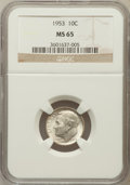 Roosevelt Dimes: , 1953 10C MS65 NGC. NGC Census: (54/593). PCGS Population (98/598).Mintage: 53,400,000. Numismedia Wsl. Price for problem f...