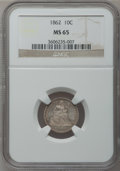 Seated Dimes: , 1862 10C MS65 NGC. NGC Census: (29/16). PCGS Population (15/15).Mintage: 847,000. Numismedia Wsl. Price for problem free N...