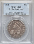 Bust Half Dollars: , 1814 50C VF30 PCGS. O-105a Single Leaf. PCGS Population (36/469).NGC Census: (29/527). Mintage: 1,039,075. Numismedia Wsl....