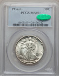 Walking Liberty Half Dollars: , 1939-S 50C MS65+ PCGS. CAC. PCGS Population (1325/1005). NGCCensus: (725/647). Mintage: 2,552,000. Numismedia Wsl. Price f...