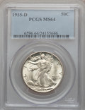 Walking Liberty Half Dollars: , 1935-D 50C MS64 PCGS. PCGS Population (624/548). NGC Census:(446/156). Mintage: 3,003,800. Numismedia Wsl. Price for probl...