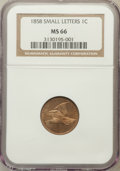 Flying Eagle Cents: , 1858 1C Small Letters MS66 NGC. NGC Census: (0/0). PCGS Population(9/0). Numismedia Wsl. Price for problem free NGC/PCGS ...