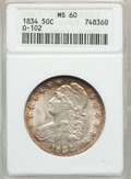 Bust Half Dollars: , 1834 50C Large Date, Large Letters MS60 ANACS. O-102. NGC Census:(6/637). PCGS Population (11/253). Mintage: 6,412,004. N...