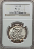 Walking Liberty Half Dollars: , 1936-S 50C MS66 NGC. NGC Census: (149/15). PCGS Population (197/6).Mintage: 3,884,000. Numismedia Wsl. Price for problem f...