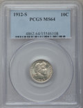 Barber Dimes: , 1912-S 10C MS64 PCGS. PCGS Population (57/24). NGC Census: (34/44).Mintage: 3,420,000. Numismedia Wsl. Price for problem f...