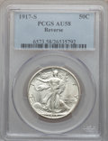Walking Liberty Half Dollars: , 1917-S 50C Reverse AU58 PCGS. PCGS Population (148/600). NGCCensus: (115/576). Mintage: 5,554,000. Numismedia Wsl. Price f...