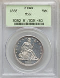 Seated Half Dollars: , 1880 50C MS61 PCGS. PCGS Population (4/99). NGC Census: (0/65).Mintage: 8,400. Numismedia Wsl. Price for problem free NGC/...