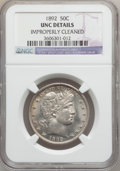 Barber Half Dollars: , 1892 50C -- Improperly Cleaned -- NGC Details. Unc. NGC Census:(4/666). PCGS Population (11/770). Mintage: 934,000. Numism...