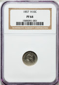 Proof Seated Half Dimes: , 1857 H10C PR64 NGC. NGC Census: (8/14). PCGS Population (14/5).Numismedia Wsl. Price for problem free NGC/PCGS coin in PR...