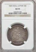 Seated Half Dollars, 1840 50C Reverse of 1839, Small Letters AU55 NGC. NGC Census:(3/10). PCGS Population (24/89). Mintage: 1,435,008. Numismed...