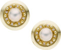 Estate Jewelry:Earrings, A PAIR OF MABE PEARL, DIAMOND, GOLD EARRINGS, ALETTO & CO. .The earrings feature mabé pearls measuring 10.60 x 7.35 mm, enh...