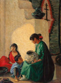 Paintings, BLANCHE GRANT (American, 1874-1948). Indian Tales, Taos, 1922. Oil on canvas. 40 x 30 inches (101.6 x 76.2 cm). Signed l...