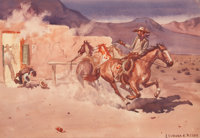 LEONARD HOWARD REEDY (American, 1899-1956) A Gun Fight Watercolor on paper 9 x 12 inches (22.9 x