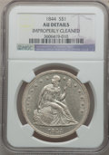 Seated Dollars: , 1844 $1 -- Improperly Cleaned -- NGC Details. AU. NGC Census:(11/98). PCGS Population (31/104). Mintage: 20,000. Numismedi...