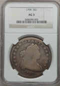 Early Dollars: , 1799 $1 7x6 Stars AG3 NGC. NGC Census: (0/1702). PCGS Population(7/2676). Mintage: 423,515. Numismedia Wsl. Price for prob...