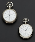 Timepieces:Pocket (pre 1900) , Two Chronographs Swiss & Waltham Pocket Watches. ... (Total: 2Items)