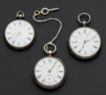 Timepieces:Pocket (pre 1900) , Three Swiss Silver Key Wind Pocket Watches. ... (Total: 3 Items)