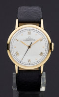 Timepieces:Wristwatch, Omega 18k Gold Center Seconds Wristwatch. ...
