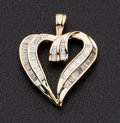 Estate Jewelry:Pendants and Lockets, Baguette Diamond & Gold Heart Pendant. ...