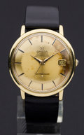 Timepieces:Wristwatch, Omega 18k Gold Constellation, Pie Pan Dial. ...