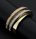 Estate Jewelry:Rings, Tri-Color Wide Band With Pave Diamonds. ...