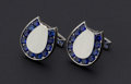 Estate Jewelry:Cufflinks, Lucky Sapphire & Gold Horseshoe Cufflinks. ...